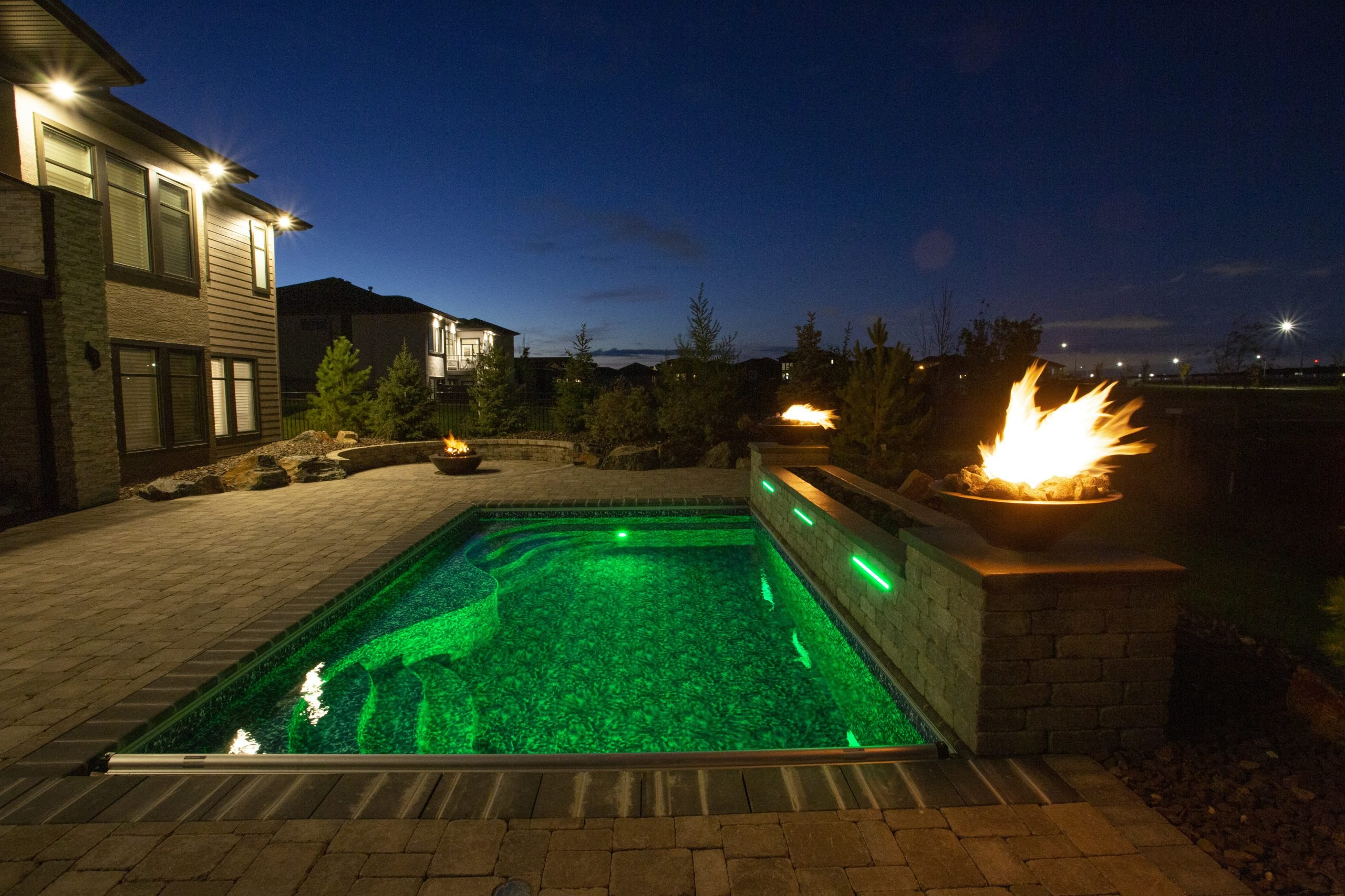 firebowls by pool