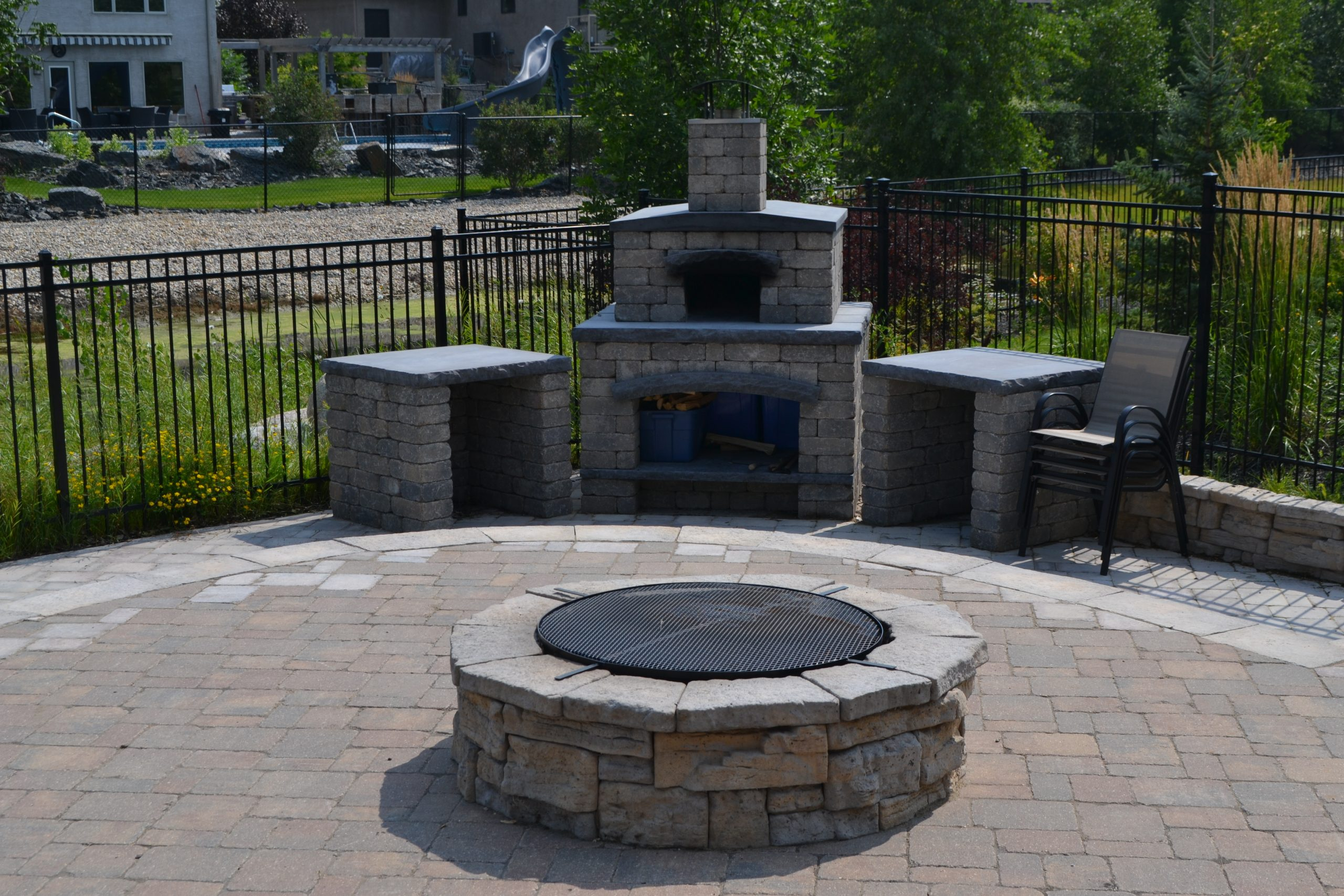 pizza oven by pool