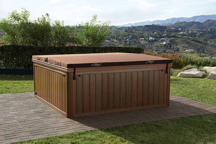 Covered hot tub