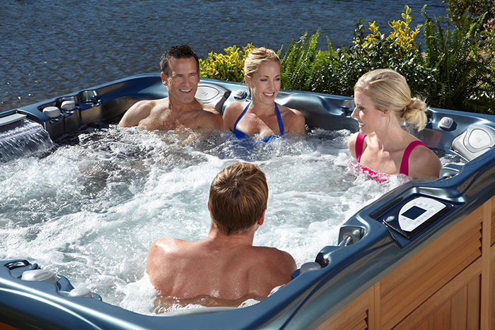 Group of people in a hot tub