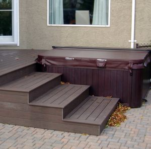 Hub tub deck custom options aqua tech for Free standing hot tub deck