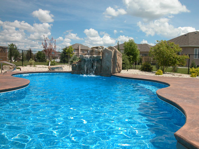 Pritchard Farm Waterfall Is 5 Foot High, Cascades Into This 36 Foot Mountain  Lake Pool. Architectural Concrete Patio, Capstone Edge, Sunbench And  Outdoor ...