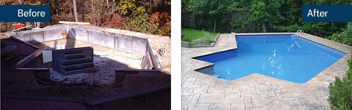 Pool landscaping backyard renovation aqua tech for Backyard makeover with pool